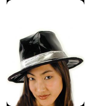 Billionaire Black Vinyl Gangster Hat Cosplay Costume Closet Halloween Shop Halloween Cosplay Costumes   Kids, Adult & Plus Size Halloween Costumes