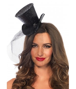 Mini Glitter Top Hat with Veil Cosplay Costume Closet Halloween Shop Halloween Cosplay Costumes | Kids, Adult & Plus Size Halloween Costumes