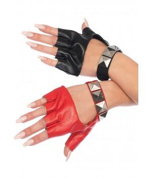 Harley Quinn 2 Tone Studded Fingerless Gloves Cosplay Costume Closet Halloween Shop Halloween Cosplay Costumes | Kids, Adult & Plus Size Halloween Costumes