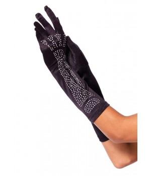 Black Rhinestone Bone Elbow Length Gloves Cosplay Costume Closet Halloween Shop Halloween Cosplay Costumes | Kids, Adult & Plus Size Halloween Costumes