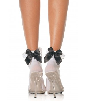 Bow and Lace Ruffle Trimmed Anklet Socks Cosplay Costume Closet Halloween Shop Halloween Cosplay Costumes   Kids, Adult & Plus Size Halloween Costumes