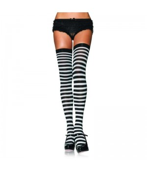 Black White Striped Plus Size Stockings 3 Pack Cosplay Costume Closet Halloween Shop Halloween Cosplay Costumes | Kids, Adult & Plus Size Halloween Costumes