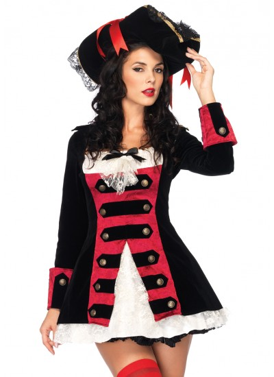 Charming Pirate Captain Adult Womens Costume at Cosplay Costume Closet Halloween Shop, Halloween Cosplay Costumes   Kids, Adult & Plus Size Halloween Costumes