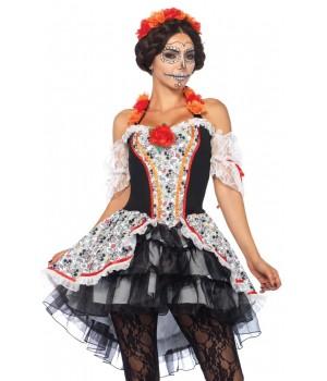 Lovely Calavera Sugar Skull Womens Costume Cosplay Costume Closet Halloween Shop Halloween Cosplay Costumes | Kids, Adult & Plus Size Halloween Costumes