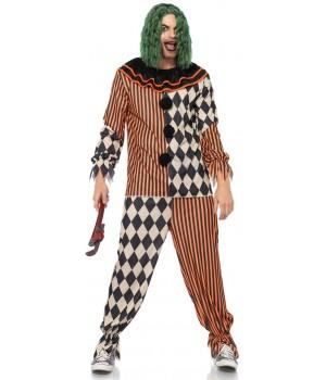 Creepy Killer Clown Mens Costume Cosplay Costume Closet Halloween Shop Halloween Cosplay Costumes   Kids, Adult & Plus Size Halloween Costumes