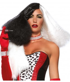 Black and White Cruella Costume Wig Cosplay Costume Closet Halloween Shop Halloween Cosplay Costumes | Kids, Adult & Plus Size Halloween Costumes
