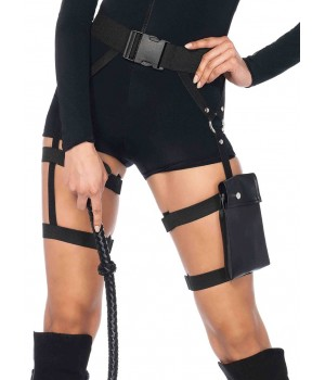 Strappy Black Utility Belt with Leg Garter Cosplay Costume Closet Halloween Shop Halloween Cosplay Costumes | Kids, Adult & Plus Size Halloween Costumes