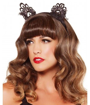 Black Lace Cat Ears Cosplay Costume Closet Halloween Shop Halloween Cosplay Costumes   Kids, Adult & Plus Size Halloween Costumes