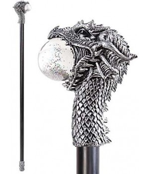 Dragon Head Walking Stick Gothic Gents Cane with Light Up Orb Cosplay Costume Closet Halloween Shop Halloween Cosplay Costumes | Kids, Adult & Plus Size Halloween Costumes