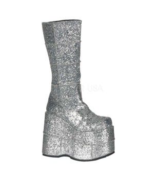 Sllver Glittered Mens Platform Patched Knee Boot Cosplay Costume Closet Halloween Shop Halloween Cosplay Costumes   Kids, Adult & Plus Size Halloween Costumes