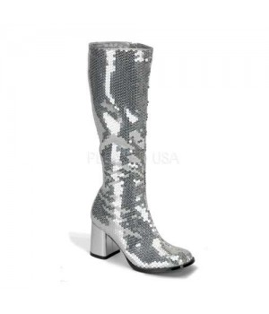 Spectacular Silver Sequin Covered Gogo Boots Cosplay Costume Closet Halloween Shop Halloween Cosplay Costumes   Kids, Adult & Plus Size Halloween Costumes