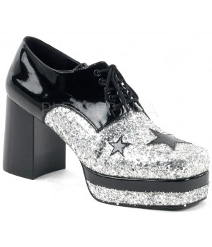 Glamrock 1970s Platform Shoes in Black and Silver Cosplay Costume Closet Halloween Shop Halloween Cosplay Costumes   Kids, Adult & Plus Size Halloween Costumes