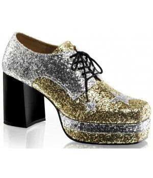 Glamrock 1970s Platform Shoes in Gold and Silver Cosplay Costume Closet Halloween Shop Halloween Cosplay Costumes   Kids, Adult & Plus Size Halloween Costumes