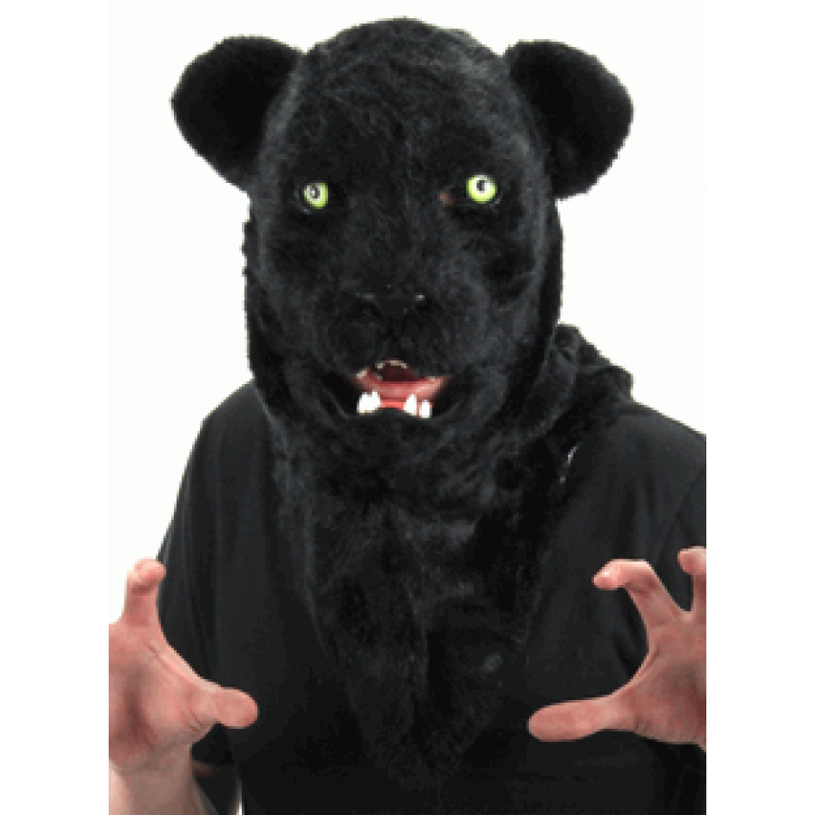 Black Panther Mouth Mover Mask Furry Cosplay Head Cat Mask