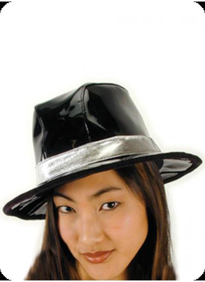 Billionaire Black Vinyl Gangster Hat at Cosplay Costume Closet Halloween Shop, Halloween Cosplay Costumes | Kids, Adult & Plus Size Halloween Costumes