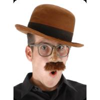 Brown Suede Bowler Hat