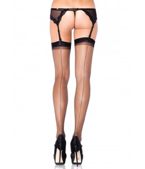 Black Spandex Backseam Garter Stockings - Pack of 3