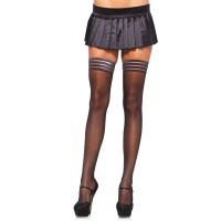 Stay Up Sheer Black Thigh High Stockings  - Pack of 3