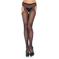 Fishnet Suspender Crotchless Pantyhose  - Pack of 3