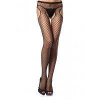 Industrial Net Black Suspender Pantyhose  - Pack of 3