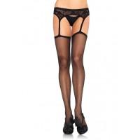 Suspender Sheer Black Stockings  - Pack of 3