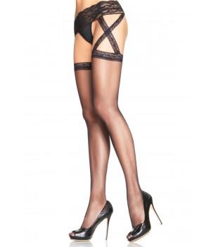 Criss Cross Sheer Black Suspender Stockings  - Pack of 3