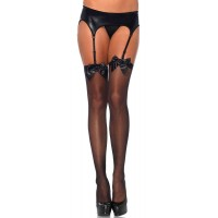 Satin Bow Sheer Thigh High Garter Stockings