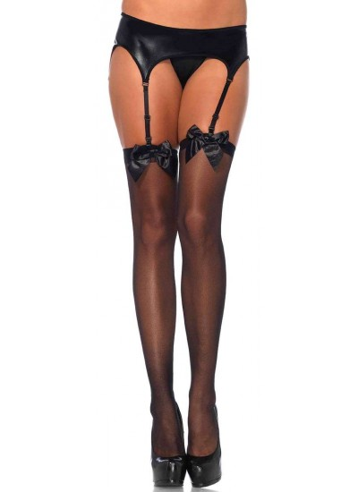 Satin Bow Sheer Thigh High Garter Stockings