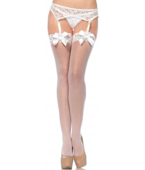 Satin Bow Lace Top Thigh High Garter Stockings