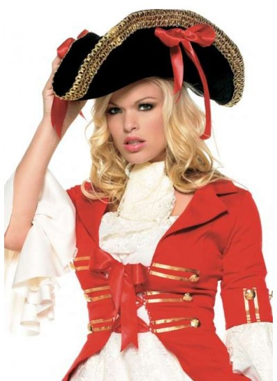 Pirate Captains Hat with Wide Gold Braid at Cosplay Costume Closet Halloween Shop, Halloween Cosplay Costumes | Kids, Adult & Plus Size Halloween Costumes