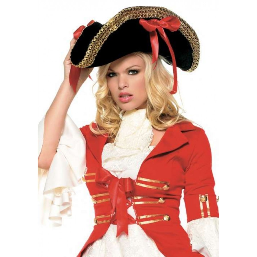 78450ed2e7d66 Pirate Captains Hat with Wide Gold Braid at Cosplay Costume Closet