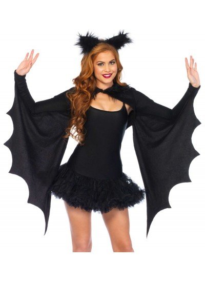 Bat Wing Cozy Shrug and Ears at Cosplay Costume Closet Halloween Shop, Halloween Cosplay Costumes | Kids, Adult & Plus Size Halloween Costumes