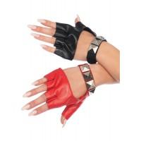 Harley Quinn 2 Tone Studded Fingerless Gloves