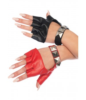 Harley Quinn 2 Tone Studded Fingerless Gloves Cosplay Costume Closet Halloween Shop Halloween Cosplay Costumes | Kids, Adult & Plus Size Halloween Costumes