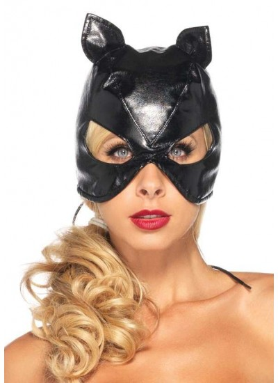 Black Faux Leather Cat Mask at Cosplay Costume Closet Halloween Costume Shop, Halloween Cosplay Costumes | Kids, Adult & Plus Size Halloween Costumes
