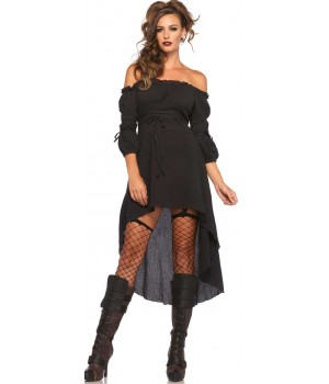 Black Gauze High Low Peasant Dress Cosplay Costume Closet Halloween Shop Halloween Cosplay Costumes | Kids, Adult & Plus Size Halloween Costumes