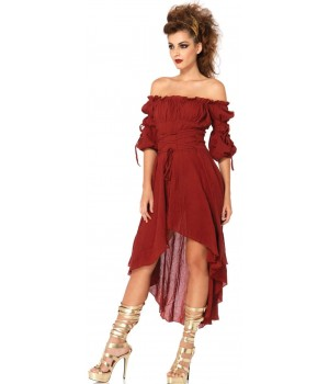 Burgundy Gauze High Low Peasant Dress Cosplay Costume Closet Halloween Shop Halloween Cosplay Costumes | Kids, Adult & Plus Size Halloween Costumes