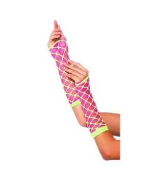 Dual Neon Net Pink and Lime Green Arm Warmers Cosplay Costume Closet Halloween Shop Halloween Cosplay Costumes | Kids, Adult & Plus Size Halloween Costumes