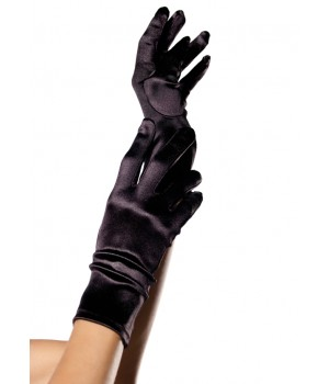 Black Wrist Length Satin Gloves Cosplay Costume Closet Halloween Shop Halloween Cosplay Costumes | Kids, Adult & Plus Size Halloween Costumes