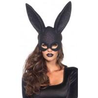 Bunny Black Glitter Masquerade Mask