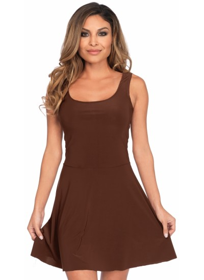 Basic Brown Womens Skater Dress at Cosplay Costume Closet Halloween Shop, Halloween Cosplay Costumes | Kids, Adult & Plus Size Halloween Costumes