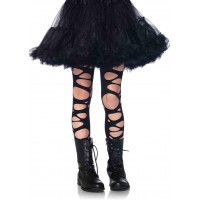 Childrens Black Tattered Tights