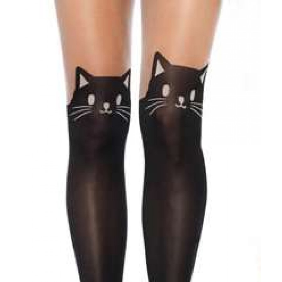 Adorable Black Kitty Cat Pantyhose 3 Pack at Cosplay Costume Closet Halloween Costume Shop Halloween  sc 1 st  Cosplay Costume Closet & Pantyhose with Black Cat Top Design