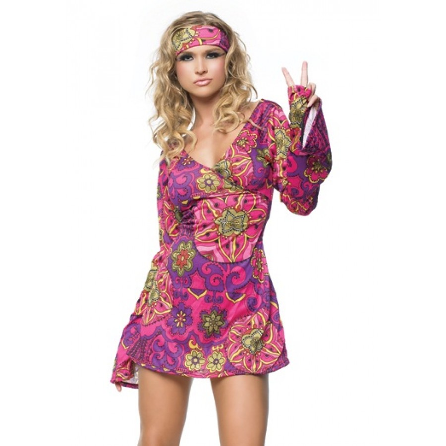 Hippie Girl Adult Womens Costume at Cosplay Costume Closet Halloween Cosplay Costumes | Kids  sc 1 st  Cosplay Costume Closet & Hippie Girl Adult Womens Costume | Hippie Girl Costume 60s Gogo Dancer