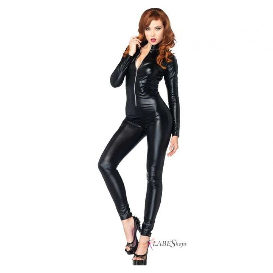 zipper front black lame catsuit | costume basic