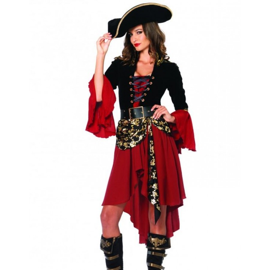 pirate captain costume for with knee length skirt