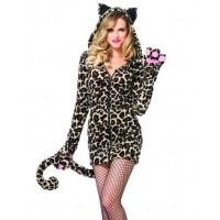 Cozy Leopard Womens Cat Hoodie Costume