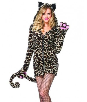 Cozy Leopard Womens Cat Hoodie Costume Cosplay Costume Closet Halloween Shop Halloween Cosplay Costumes | Kids, Adult & Plus Size Halloween Costumes