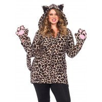 Cozy Leopard Womens Plus Size Cat Hoodie Costume