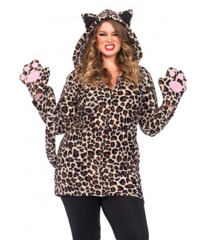 Cozy Leopard Womens Plus Size Cat Hoodie Costume Cosplay Costume Closet Halloween Shop Halloween Cosplay Costumes | Kids, Adult & Plus Size Halloween Costumes